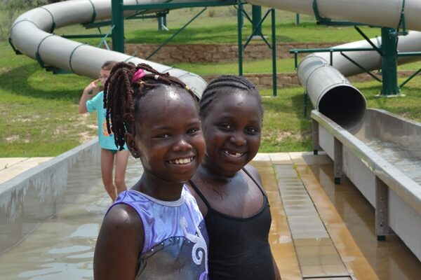 two girls at the water slide